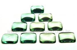 10 Retangulo pra Pingente Pedra Obsidiana Verde Semi Calibrado 15 x 20 MM
