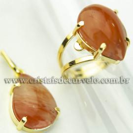 Conjunto Anel e Pingente Gota Pedra Quartzo Cherry Dourado