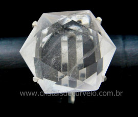 Anel Estrela de Davi ou Selo de Salomao Pedra Cristal Montado em Prata de Lei