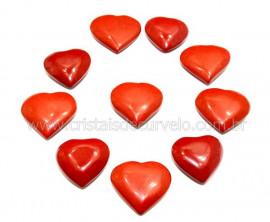 10 Coração Pedra Jaspe Vermelho Furado Pra Montagem 23x25mm REFF CF3412