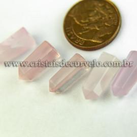 05 Micro Pontinha Cristal Quartzo Rosa 15mm pra montar joias
