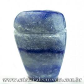 Pingente Pedra Rolada Quartzo Azul Difusor Aromaterapia Ranhurado