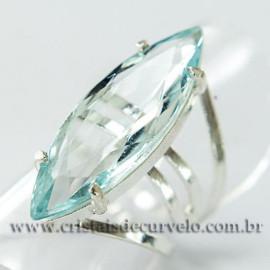Anel Pedra Topazio Azul Facetado Prata 950 Ajustavel 112443