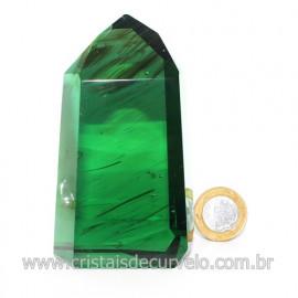 Ponta Obsidiana Verde Cristalizada Transparente Cod 123118