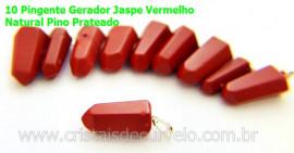 10 Pingente Pontinha Atacado Pedra Jaspe Vermelho Presilha e Pino Prateado