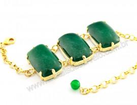 Bracelete 03 Pedras Quartzo Verde Retangular Dourado REFF BR5710
