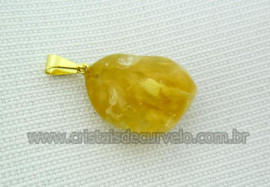 100 Pingente Pedrinha Citrino Rolado Mineral Quartzo Natural Montagem Dourado