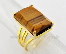 Anel Olho de Tigre Facetado Pedra natural de Garimpo Banho Flash Dourado Aro Ajustavel REFF 13.4