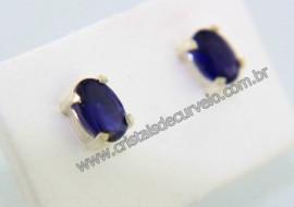 Brinco Prata 950 Pedra Safira Azul Oval Facetado Trava Tarracha Prata