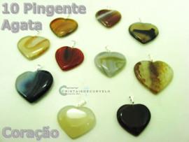 10 Corações Pingente Pedra Agata Cores Variadas Montagem Prateado ATACADO