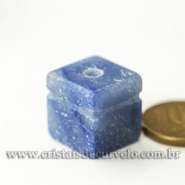 Pingente Pedra Cubo Quartzo Azul Difusor Aromaterapia Ranhurado