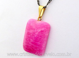 Pingente Retangular Amazonita Pink Montagem Pino e Argola Banho Dourado