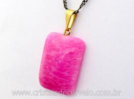 Pingente Retangular  LisoAmazonita Pink Montagem Pino e Argola Banho Dourado