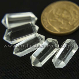 05 Micro Pontinha Bi Ponta Cristal Transparente 15mm pra montar joias