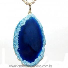 Pingente Chapa de Ágata Azul Pino Prata 950 Reff 106413