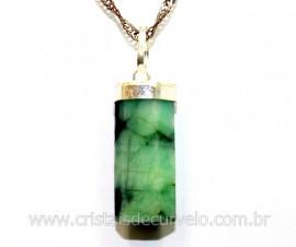 Pingente Canudo Esmeralda Pedra Natural Prata 950 Ref PE1583
