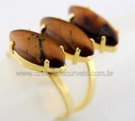 Anel 3 Pedras OLHO DE TIGRE Navete Aro Ajustavel Banho Dourado AC4258