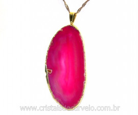 Pingente Chapa de Agata Rosa Envolto Dourado REFF PA3970