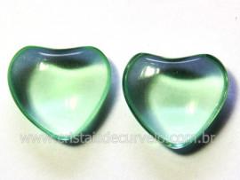 Par Coração Obsidiana Verde Natural Pra Brinco Reff CB4499