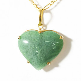 Pingente Extra Coração Pedra Quartzo Verde Montagem Garra Dourado