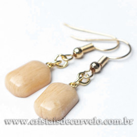 Brinco Retangular Pedra Amazonita Pêssego Montagem Anzol Dourado