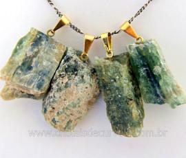 Pingente Cianita Verde Canudo Pedra Natural Montagem Presilha e pino Dourado