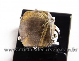 Anel Prata 950 Cristal Rutilo Natural Aro Ajustavel 112378
