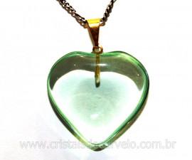 Pingente Coração Pedra Obsidiana Verde Montagem Pino Flash Dourado