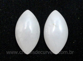 Par Navete Quartzo Leitoso Pedra Natural Pra Brinco Reff NB6579