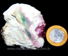 Turmalina Melancia Pedra Incrustado Quartzo Bruto Cod 106167