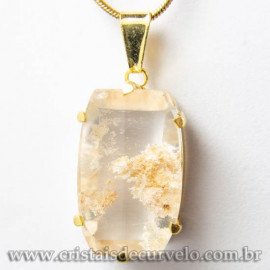 Pingente Pedra Cristal Lodolita Baguette Garra Dourada 112937