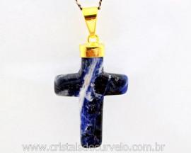 Crucifixo Sodalita Azul Pingente Cruz Pedra Natural Montagem Envolto Banho Flash Dourado