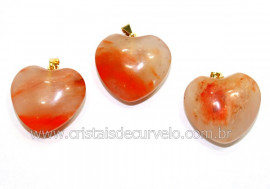 03 Pingente Coração Pedra Hematoide Vermelho Natural Montagem Flash Dourado ATACADO