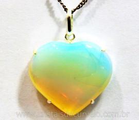 Pingente Coração Pedra da Lua Opalina Prata 950 Garra CP4909