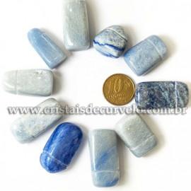 5 Pingente Quartzo Azul Difusor Pedra Rolada Aromaterapia ATACADO