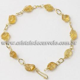5 Pulseira Pedra Citrino Na Gaiola Banho Dourado ATACADO