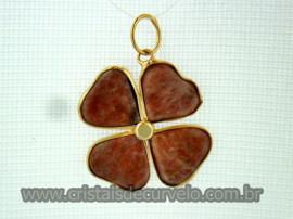 Pingente Trevo Quartzo Cereja  Pedra Natural Trevinho da Sorte Flasch Dourado