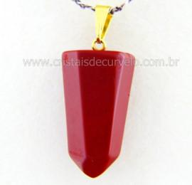 Pingente Pontinha Pedra Jaspe Vermelho Presilha e Pino Dourado