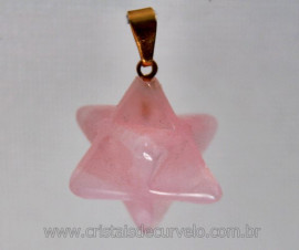 Merkaba Pingente Pedra Quartzo Rosa Presilha Dourado