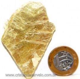 Chapa de Mica Amarela Bruta Natural de Garimpo Cod 111173