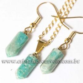 Conjunto Pingente e Brinco Pedra Amazonita Micro Pontinha Dourado