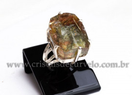 Anel Prata 950 Cristal Lodolita Natural Aro Ajustavel 112371