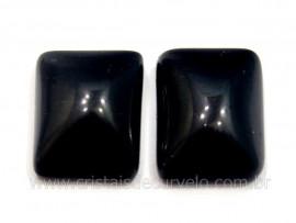 Par Retangulo Obsidiana Negra Pedra Pra Brinco Reff RB5932