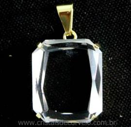 Pingente Quartzo Cristal Facetado Manual Montagem Garra Dourado