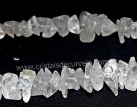 Fio Cristal Pedra Rolado Grande Furado 80 cm Furos Manuais no Centro da Pedra