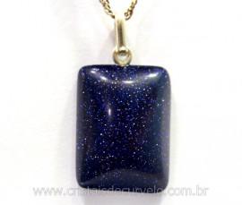 Pingente Retangulo Pedra Estrela Prata 950 Pino Reff PR1978