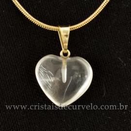 Pingente Mini Coração 15mm Cristal Natural Dourado 120782