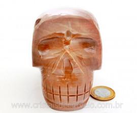 Cranio Pedra Dolomita Marrom Natural Caveira Esculpido Skull Stone Cod CM1.287