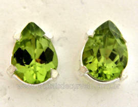Brinco Prata 950 Pedra Peridoto Verde Gota Facetado Trava Tarracha Prata Ref 22.5
