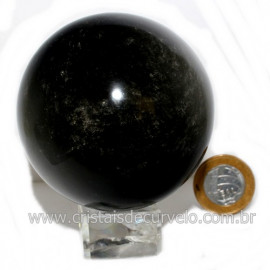 Esfera Obsidiana Negra Pedra Lava Vulcanica Natural 126119